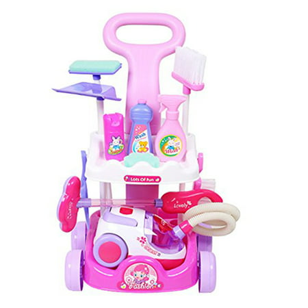 KARMAS PRODUCT Pretend Play Toys Vacuum Cleaner Playset Cleaning Trolley Cart for