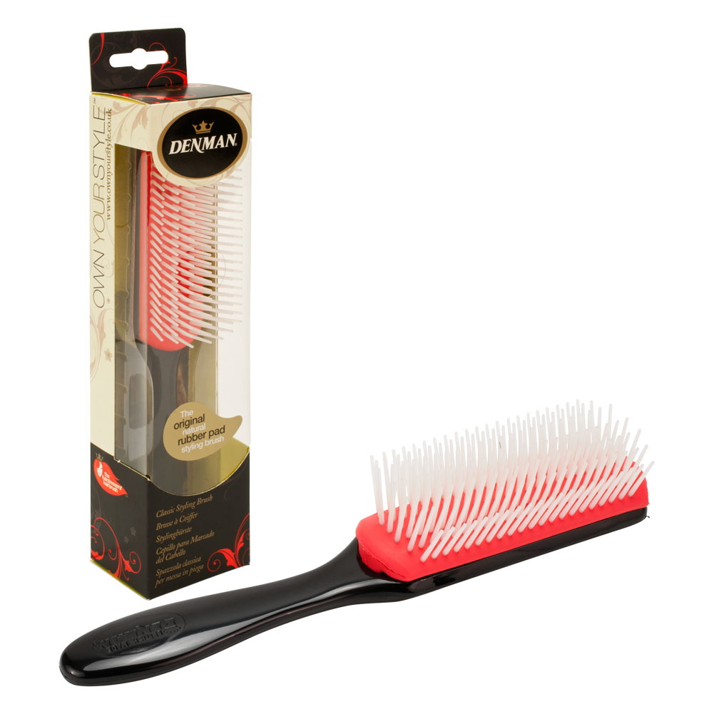 "Denman 7.87"" Rubber Pad 7-Row Nylon Styling Hair Brush, BLACK, T003SBLKP"