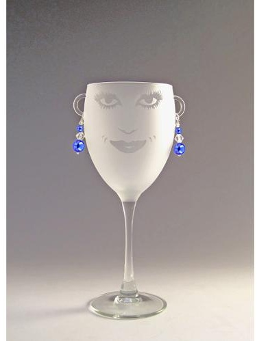 Set of 4 Lola Etched Wine Drinking Glasses with Sapphire Earrings 10.5 ounces by Diva At Home