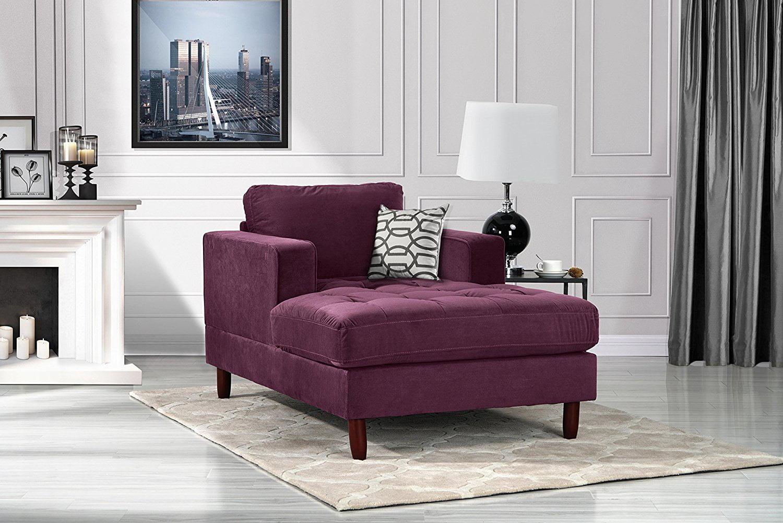 Mid Century Modern Velvet Fabric Living Room Chaise Lounge Purple Walmart Com Walmart Com