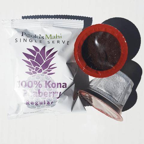 Pooki's Mahi 100% Kona Coffee Peaberry Pods for Single Se...