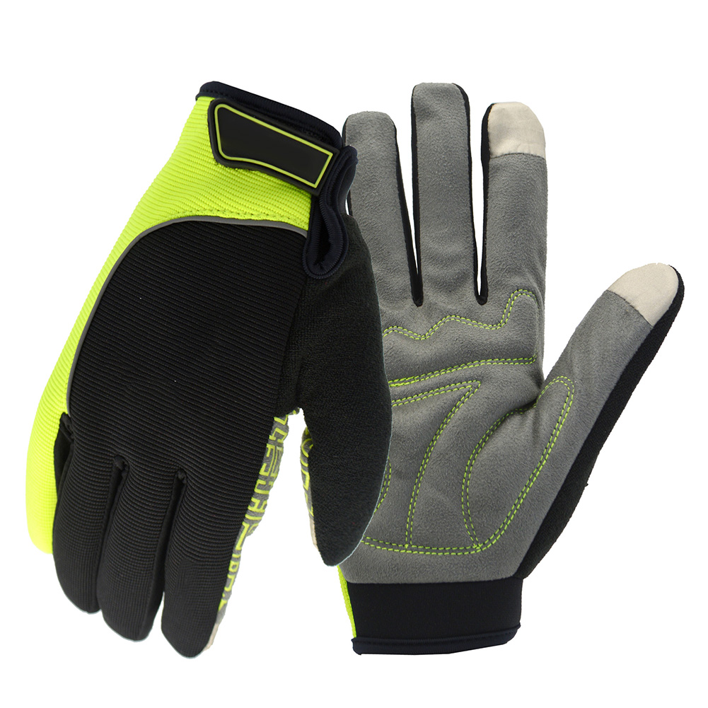 Outdoors Warm Thicken Non-Slip Touch Screen Gloves Reflective Winter Gloves Color:black and green Size:L by