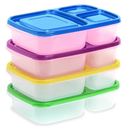 Ekarro Lunchboxes 3 Compartment Bento Lunch Box Set of 4 Containers