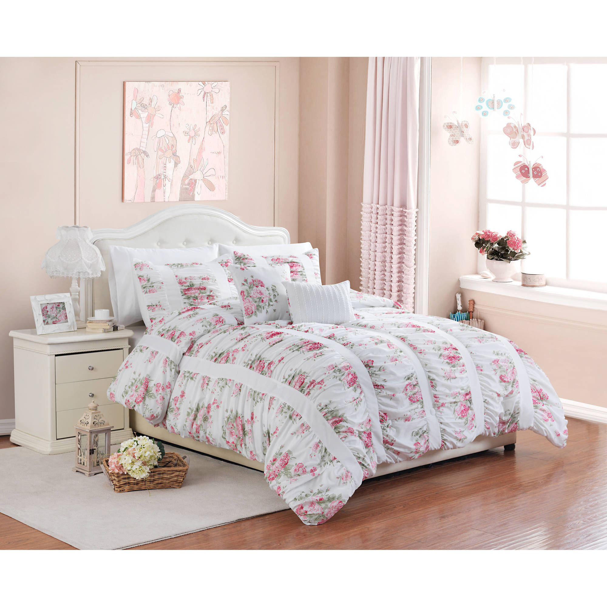 Better Homes and Gardens 5-Piece Floral Ruching Bedding Comforter ...