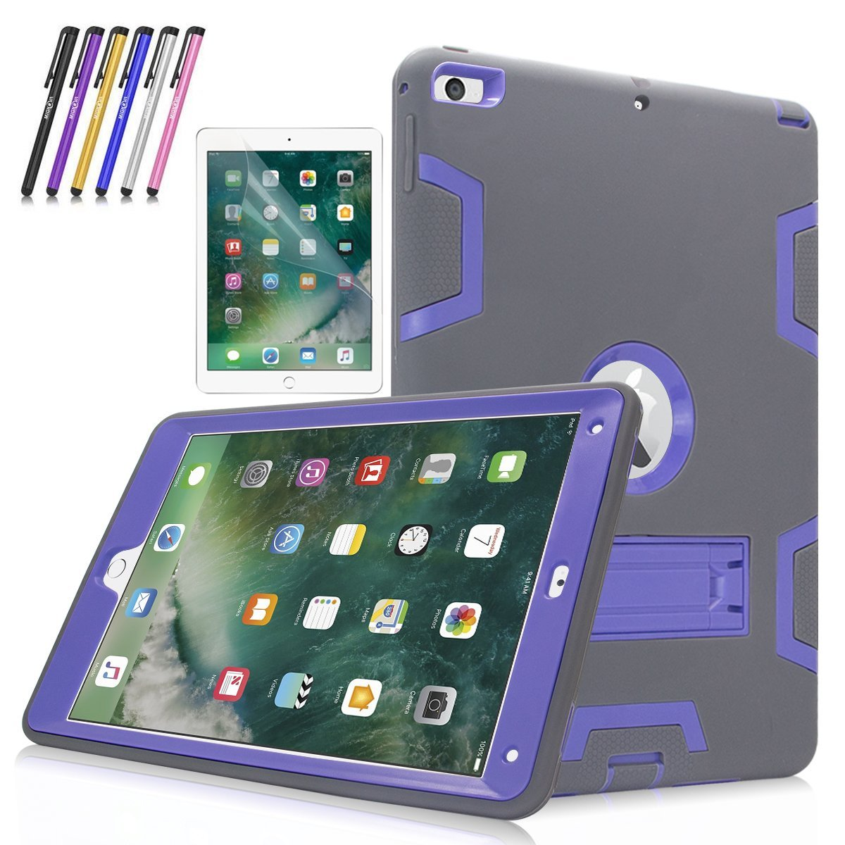 """New iPad 9.7""""Case, Mignova Heavy Duty rugged Hybrid Protective Case with Build In Kickstand For iPad 5th 6th Generation 2017/2018 A1822/A1823 + Screen Protector Film and Stylus Pen (Gray / Purple)"""