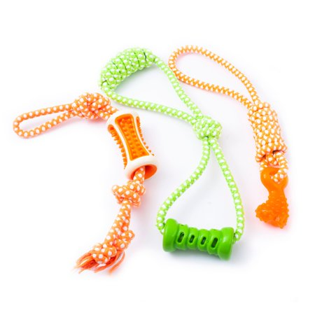 Fluffy Paws 3 Packs Pet Dog Toy and Tug Rope, Durable Rubber Dental Chew Bite Resistant Interactive Training/Chewing/Playing Toy for Small, Medium, Large - Rope Tug Toy