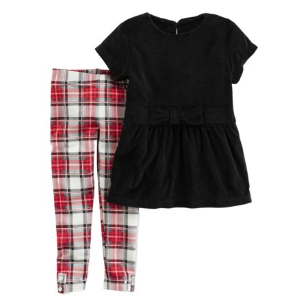 18m Carters 2 Piece (Carters Infant Girls Black Velvet & Red Plaid Baby Outfit Shirt & Leggings )