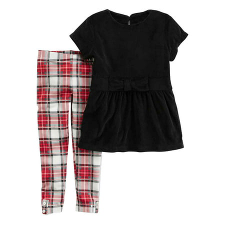 Carters Infant Girls Black Velvet & Red Plaid Baby Outfit Shirt & Leggings