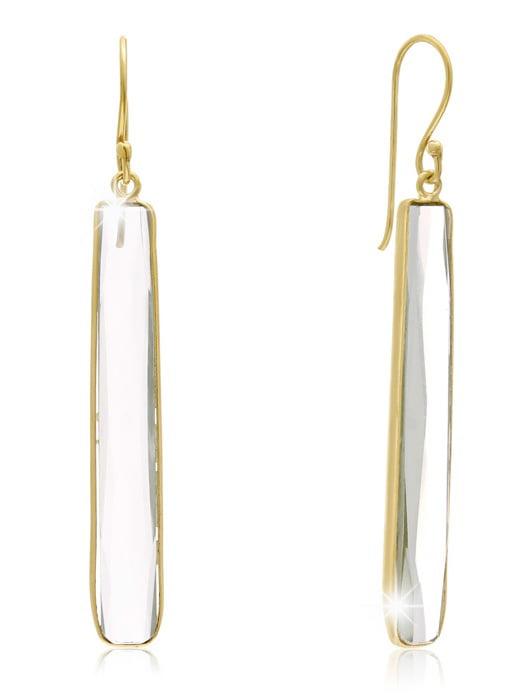 17 Carat Green Amethyst Bar Earrings In 14 Karat Yellow Gold 1 3/4 Inch