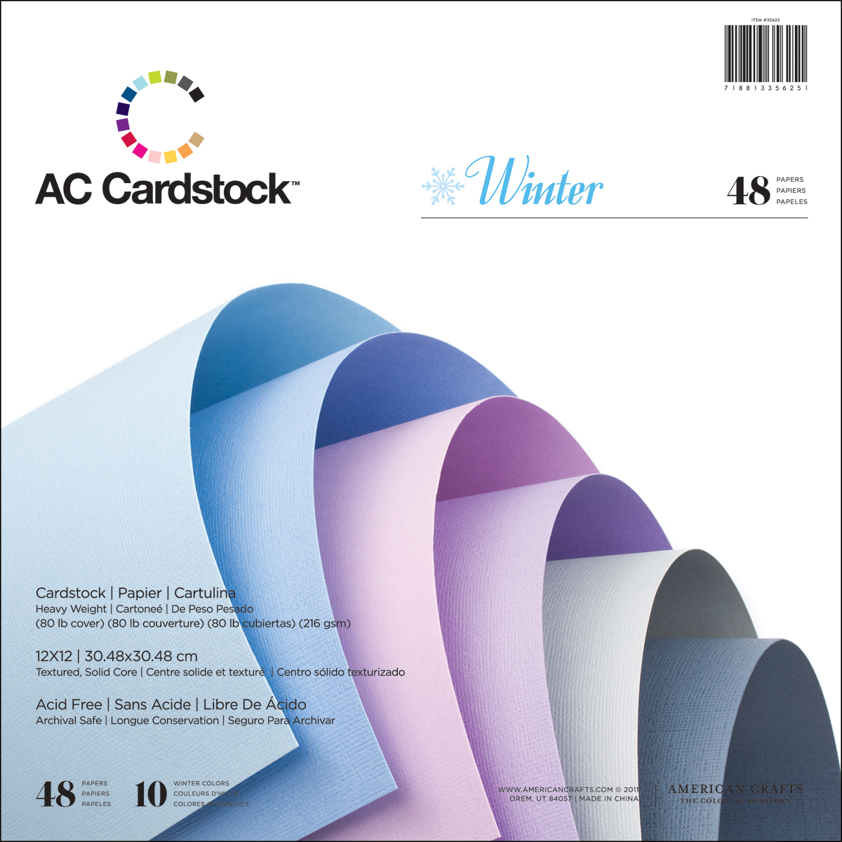 American Crafts Cardstock Pack 12 Inch X 12 Inch 48/Pkg-Winter