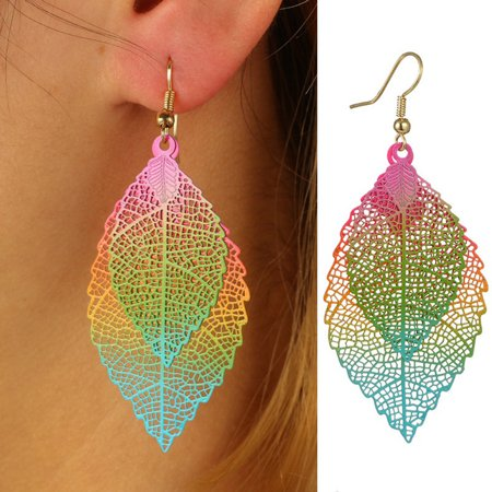 Moderna Fashion Metal Hollow Colorful Leaf Pendant Drop Hook Earrings Statement Jewelry