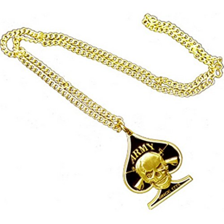 United States Armed Forces Army Death Spades Skull Crossbones ACE Casino Gambling Brass Black Enamel Logo Symbols - All Metal Military Dog Tag Luggage Tag Key Chain Metal Chain (Gambling Jewelry)