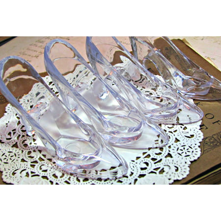 12 Clear Cinderella Glass Slippers Cake Topper Wedding Decoration