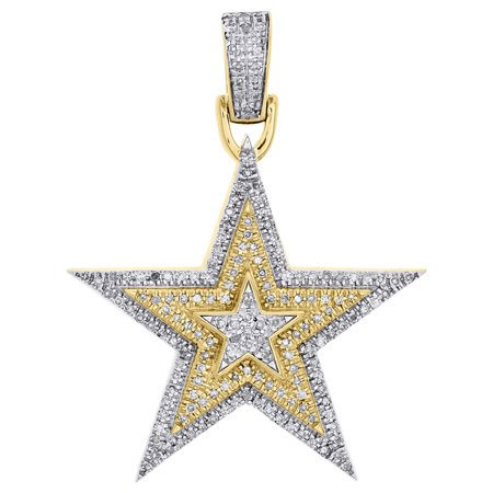 10K Yellow Gold Diamond Tiered Star Pendant Two Tone 1.35