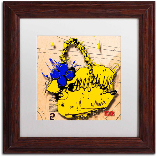 "Trademark Fine Art ""Flower Purse Blue on Yellow"" Canvas Art by Roderick Stevens, White Matte, Wood Frame"