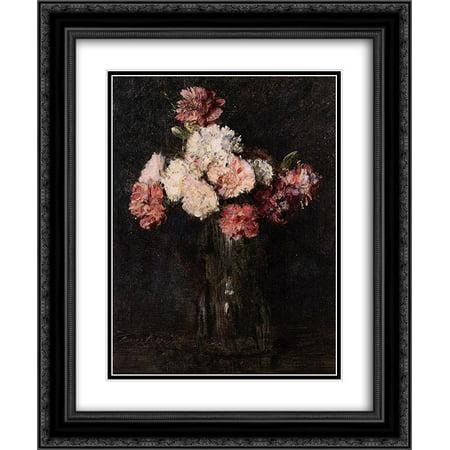 Calla Lily Champagne Flute (Henri Fantin Latour 2x Matted 20x24 Black Ornate Framed Art Print 'Carnations in a Champagne Glass' )