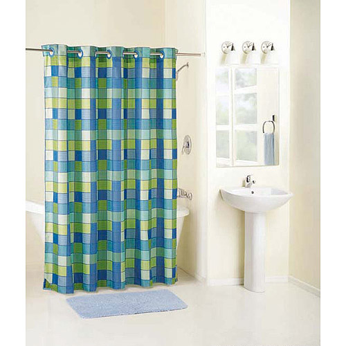 mainstays checkmate fabric hookless curtain - walmart