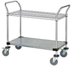 "18"" Deep x 42"" Wide x 39"" High 2 Tier Heavy Duty Chrome Wire Utility Cart with 1 Wire Shelf & 1 Solid Shelf"