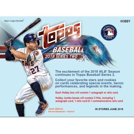 2018 Topps Series 2 Baseball Jumbo Box 10 Packs50 Cards 1 Autograph 1 Relic 1 Commemorative Relic