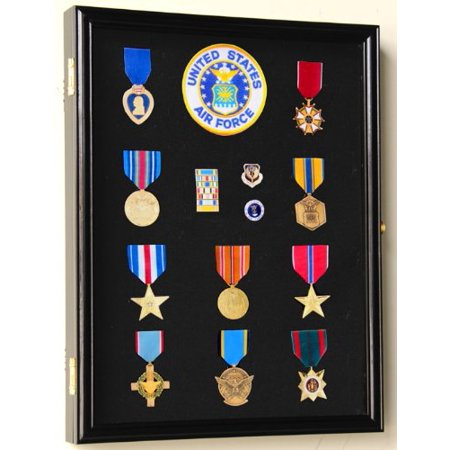 Military Medals, Pins, Patches, Insignia, Ribbons Display Case Wall Frame Cabinet PC01-BLA