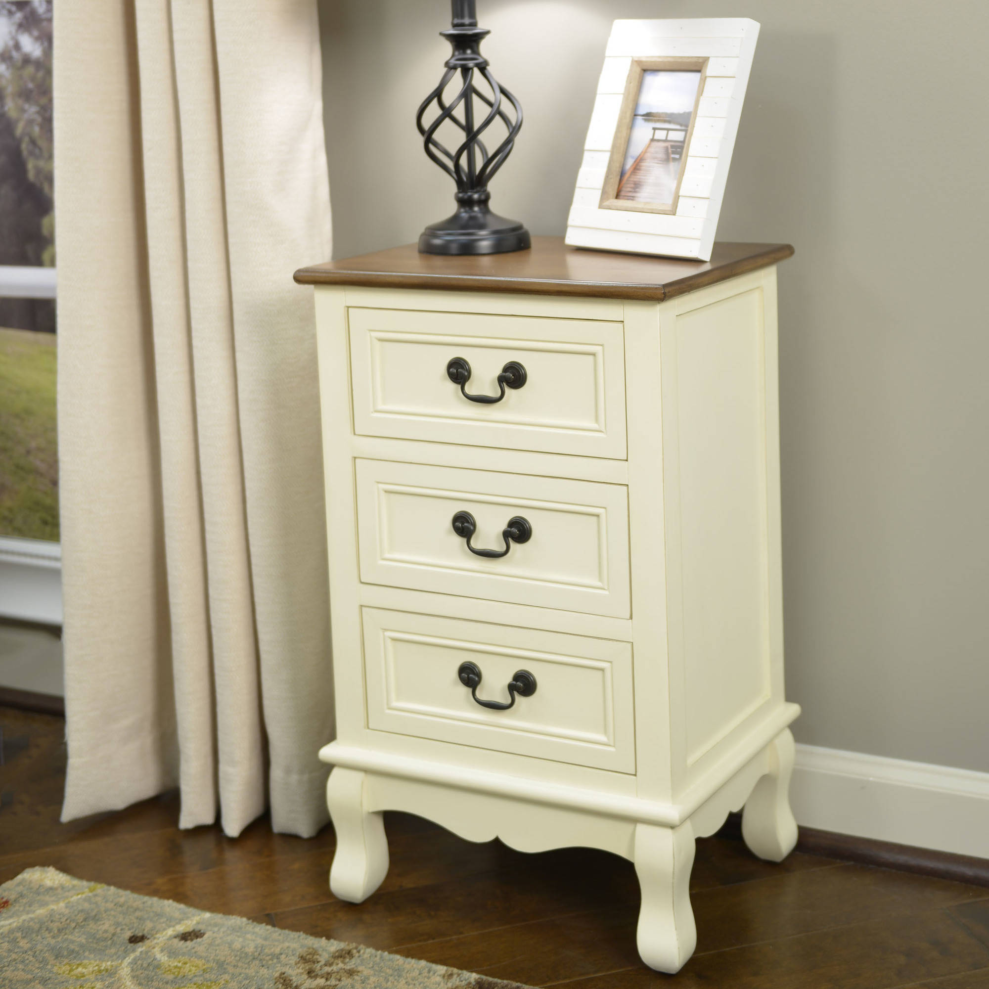 Better Homes and Gardens Two-Tone 3-Drawer Accent Table, Multiple Colors