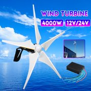 Electric 5 Carbon Fiber Blades 4000W 12V/24V Wind Turbine Generator Windmill Power Generator Green Energy Generating Aerogenerator with Controller