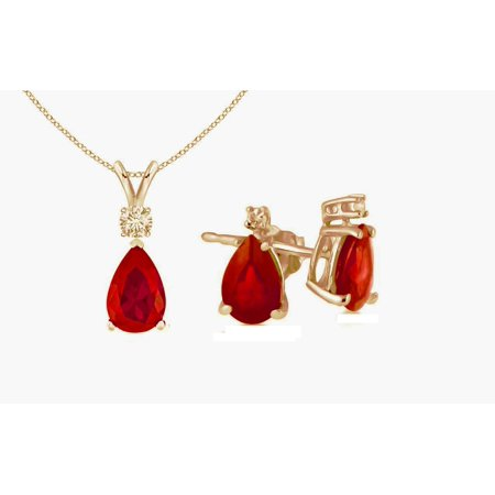 Genuine Luxurious 3 Cttw Ruby & Diamond (G-H, I1-I2) Earrings and Necklace Set In 14K Yellow