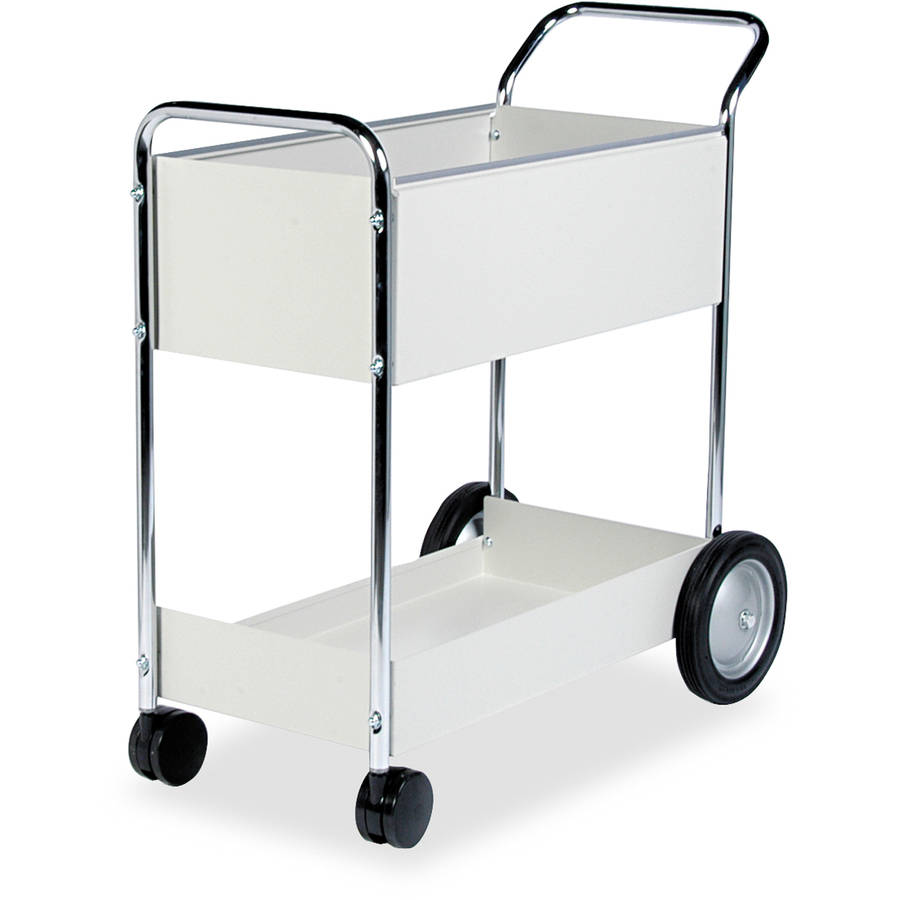 "Fellowes Steel Mail Cart, 150-Folder Capacity, 20""W x 40-1/2""D x 39""H, Dove Gray"