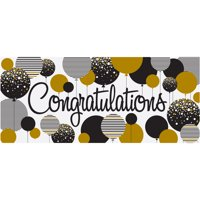 """Congratulations"" Banner, 5 x 2.25 ft, Gold and Black, 1ct"