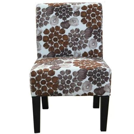 Grace Floral Accent Chair Purple Flower Pattern Fabric
