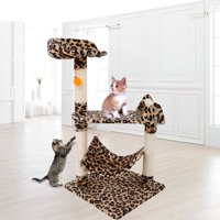 "Topcobe 32"" Multi-Level Cat Activity Tree, Cute Sisal Play House Climber Activity Centre Tower Stand Furniture with Scratching Posts Hammock Dangling Ball, Suit for Cats Pet, Leopard Print"