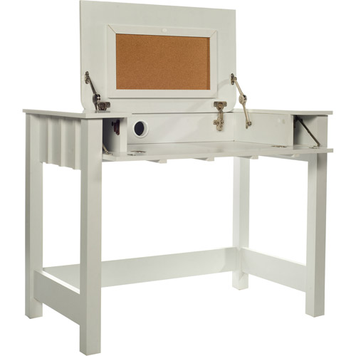 Comfort Products Cork Desk with Flip-Up Vanity, White