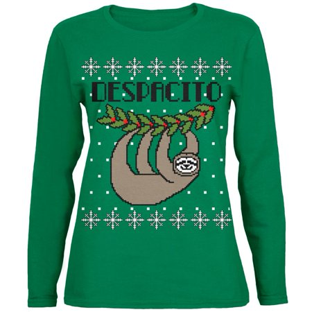 Hedgehog Christmas Sweater.Despacito Means Slowly Sloth Funny Ugly Christmas Sweater Womens Long Sleeve T Shirt