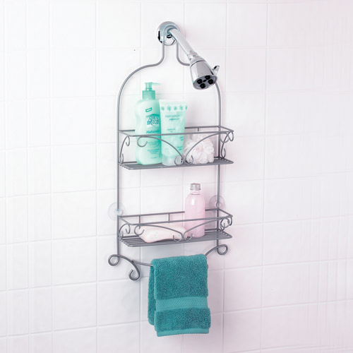 nickel scroll shower caddy