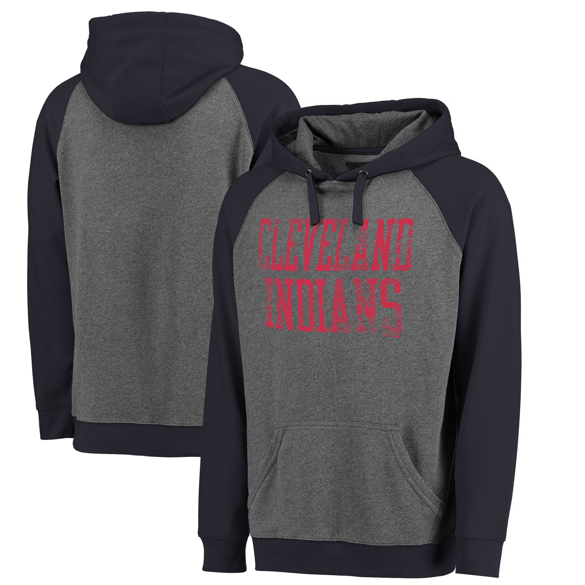 Cleveland Indians Fanatics Branded Straight Out Two-Tone Pullover Hoodie - Gray/Navy