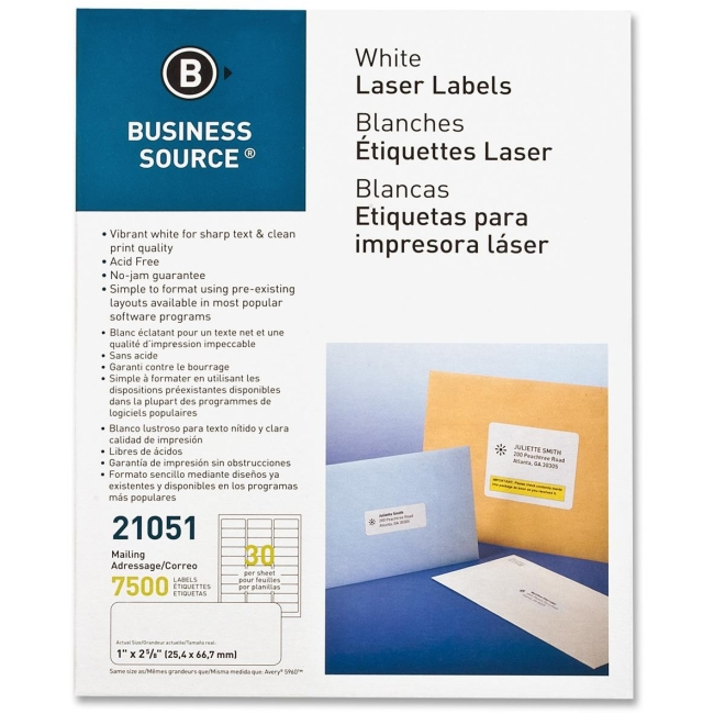 Business Source Mailing Label, Laser, 1''x2-5/8'', 7500 per Pack, White