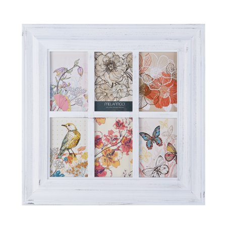 Melannco 6-Opening White Window Photo Collage, Picture Frame ...