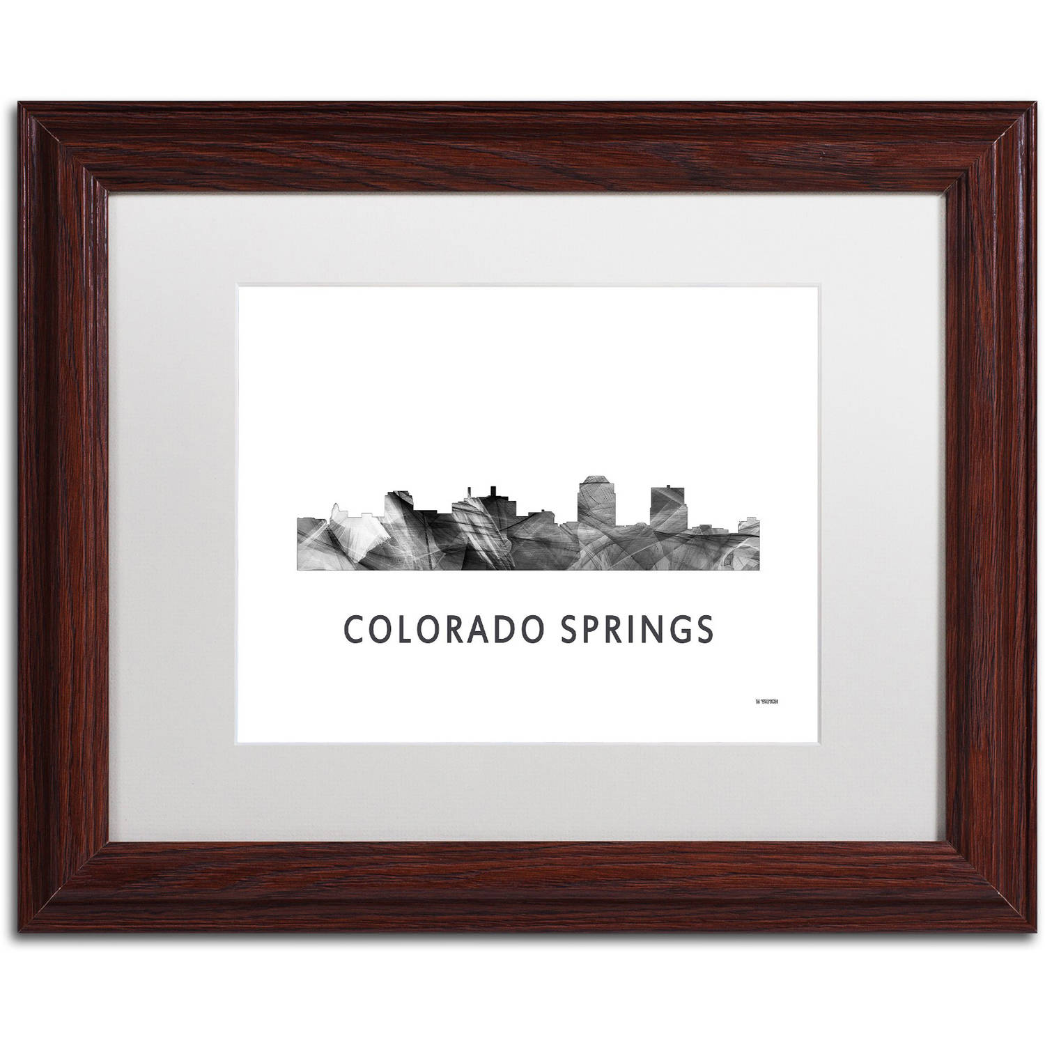 Trademark Fine Art 'Colorado Springs CO Skyline WB-BW' Canvas Art by Marlene Watson, White Matte, Wood Frame