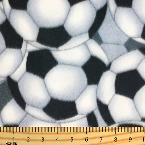 SHASON TEXTILE (2 Yards cut) POLAR FLEECE FABRIC 100% POLYESTER ANTI-PILL, New Soccer Ball, Available in Multiple Colors