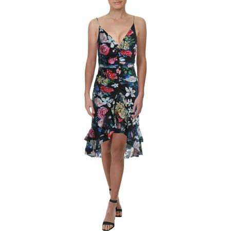 Aidan by Aidan Mattox Womens Floral Print Ruffled Cocktail Dress