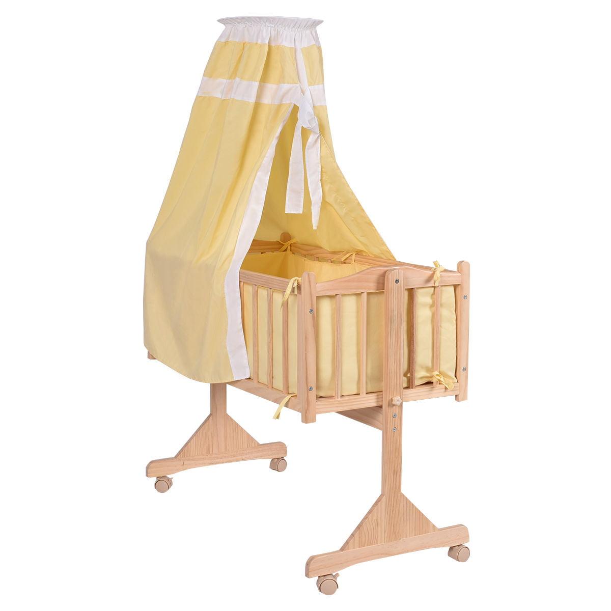Costway Wood Baby Cradle Rocking Crib Newborn Bassinet Bed