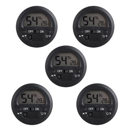 5-pack Hygrometer Thermometer Digital LCD Monitor Indoor Outdoor Humidity Meter Gauge for Humidifiers Dehumidifiers Greenhouse Basement Babyroom, Black Round ()