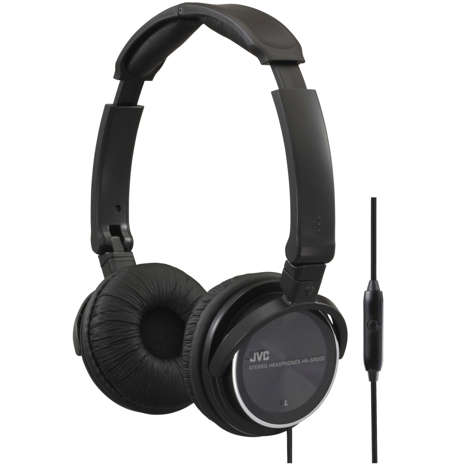 JVC HASR500B On-Ear Headband Headphones with Remote & Microphone (Black)
