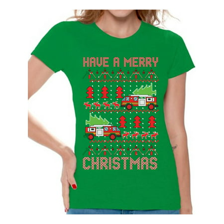 Awkward Styles Christmas Fire Truck Tshirt for Women Firefighter Ugly Christmas T Shirt Funny Xmas Gifts for Firefighter Superhero Fire Truck Pulled By Reindeer Shirt Funny Christmas Shirts for Women for $<!---->