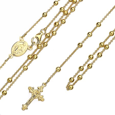 3MM Rosary Sterling Silver Italian Chain Necklaces