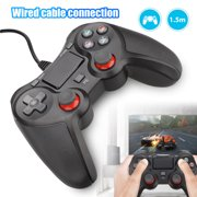 TSV [Upgrade] Wired Controller Compatible with PS 4 and PC Computer Gaming, 5ft/1.5m USB Wired Game Controller Joystick Gamepad with Vibration Motor, LED Indicator
