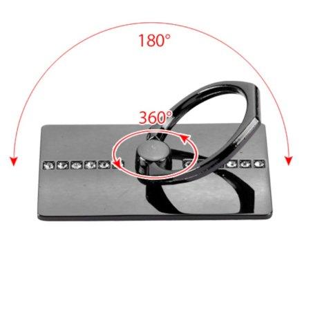 Insten Black Row Diamond Adhesive Ring Stand 360 Rotating Cell Phone Grip Holder Finger Bracket Kickstand Universal for iPhone 7 6 6s Plus SE 5s Samsung Galaxy S7 Edge S6 Note 5 J7 J5 J3 J1 On5 LG K7 - image 1 de 3