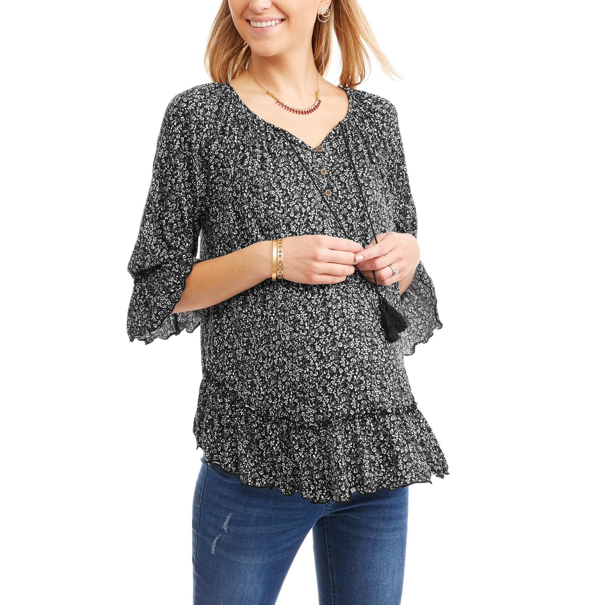 Maternity 3 4 Sleeve Printed Flounce Peasant Top by