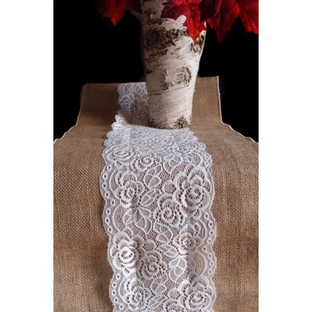 Quasimoon Vintage Burlap and Lace Style No.1 Table Runner (12 x 108) by PaperLanternStore