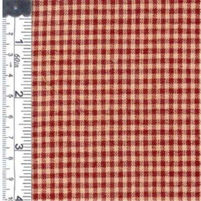 Textile Creations 104 Rustic Woven Fabric, Small Check Wine And Natural, 15 yd.